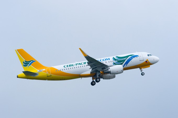 CEB's Airbus A320 with Sharklets during takeoff