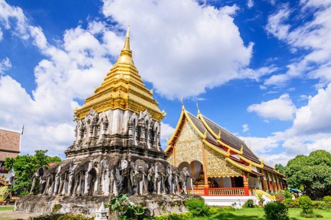 Chedi Chang Lom and Viharn, Wat Chiang Man Temple, Chiang Mai, T
