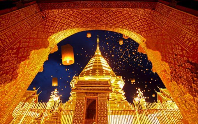 Night view Doi Suthep Chiang Mai, Thailand