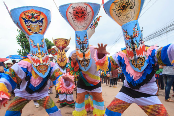 Phi Ta Khon Festival, Loei *** Local Caption *** ประเพณีการละเล่นผีตาโขน  จังหวัดเลย