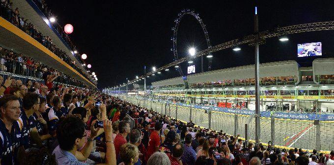 Fans will be seated at the Pit Grandstand across the Red Bull Racing garage_Fotor