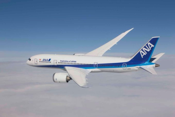 Boeing 787 Dreamliner in ANA livery, photographed from Clay Lacy's Astrovision Learjet.